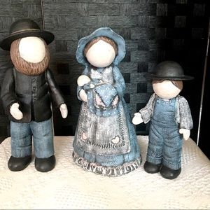 Hand Painted Amish Family Large Figurines
